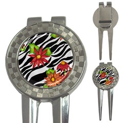 Floral Zebra Print 3 In 1 Golf Divots by dawnsiegler