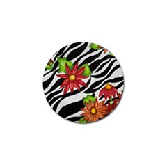 Floral Zebra Print Golf Ball Marker (4 Pack) by dawnsiegler