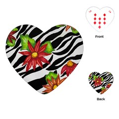 Floral Zebra Print Playing Cards (heart)  by dawnsiegler