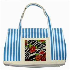 Floral Zebra Print Striped Blue Tote Bag by dawnsiegler
