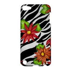 Floral Zebra Print Apple Ipod Touch 5 Hardshell Case by dawnsiegler