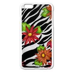 Floral Zebra Print Apple Iphone 6 Plus/6s Plus Enamel White Case by dawnsiegler