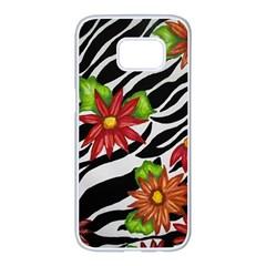 Floral Zebra Print Samsung Galaxy S7 Edge White Seamless Case by dawnsiegler