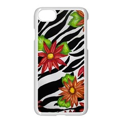Floral Zebra Print Apple Iphone 7 Seamless Case (white) by dawnsiegler