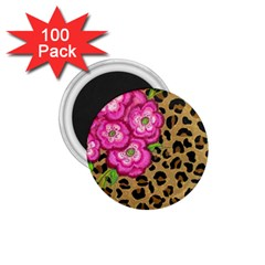 Floral Leopard Print 1 75  Magnets (100 Pack)  by dawnsiegler