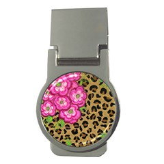 Floral Leopard Print Money Clips (round)  by dawnsiegler