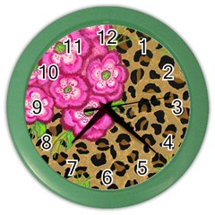 Floral Leopard Print Color Wall Clocks by dawnsiegler