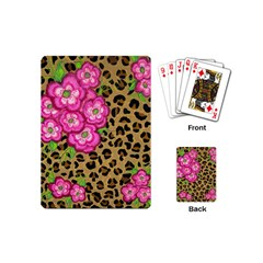 Floral Leopard Print Playing Cards (mini)  by dawnsiegler