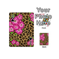 Floral Leopard Print Playing Cards 54 (mini)  by dawnsiegler