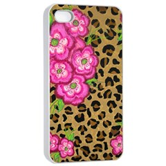 Floral Leopard Print Apple Iphone 4/4s Seamless Case (white) by dawnsiegler