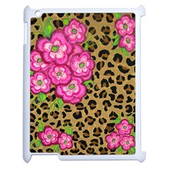 Floral Leopard Print Apple Ipad 2 Case (white) by dawnsiegler