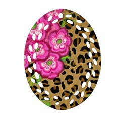Floral Leopard Print Oval Filigree Ornament (two Sides) by dawnsiegler