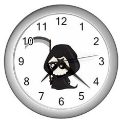 Cute Grim Reaper Wall Clocks (silver)  by Valentinaart