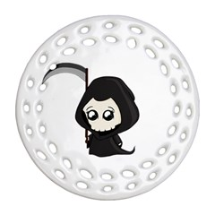 Cute Grim Reaper Round Filigree Ornament (two Sides) by Valentinaart