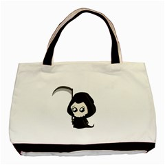 Cute Grim Reaper Basic Tote Bag (two Sides) by Valentinaart