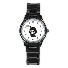 Cute Grim Reaper Stainless Steel Round Watch by Valentinaart