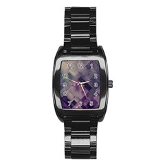 Vintage Style Graphic Print In Blues And Purples Stainless Steel Barrel Watch by douxsurmoi