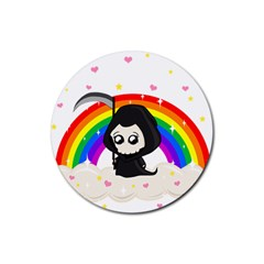 Cute Grim Reaper Rubber Round Coaster (4 Pack)  by Valentinaart