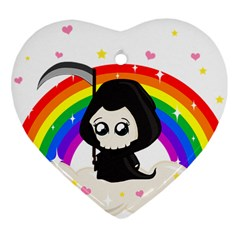 Cute Grim Reaper Heart Ornament (two Sides) by Valentinaart