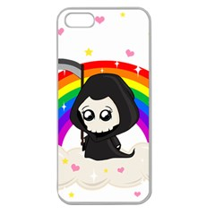 Cute Grim Reaper Apple Seamless Iphone 5 Case (clear) by Valentinaart