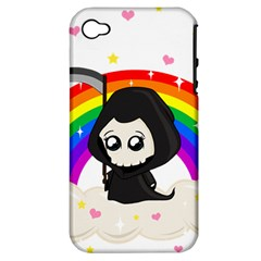 Cute Grim Reaper Apple Iphone 4/4s Hardshell Case (pc+silicone) by Valentinaart