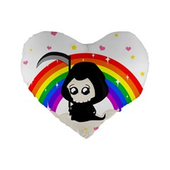 Cute Grim Reaper Standard 16  Premium Heart Shape Cushions by Valentinaart