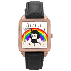 Cute Grim Reaper Rose Gold Leather Watch  by Valentinaart