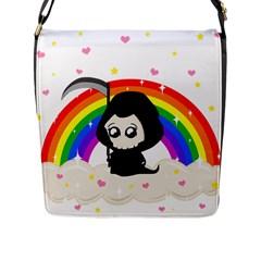 Cute Grim Reaper Flap Messenger Bag (l)  by Valentinaart