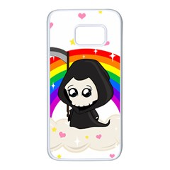 Cute Grim Reaper Samsung Galaxy S7 White Seamless Case by Valentinaart