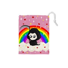 Cute Grim Reaper Drawstring Pouches (small)  by Valentinaart