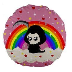 Cute Grim Reaper Large 18  Premium Flano Round Cushions by Valentinaart