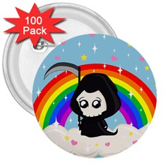 Cute Grim Reaper 3  Buttons (100 Pack)  by Valentinaart