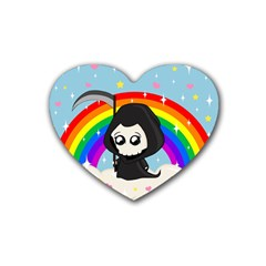 Cute Grim Reaper Rubber Coaster (heart)  by Valentinaart
