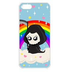 Cute Grim Reaper Apple Iphone 5 Seamless Case (white) by Valentinaart