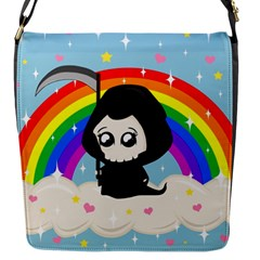 Cute Grim Reaper Flap Messenger Bag (s) by Valentinaart