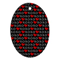Xoxo Valentines Day Pattern Ornament (oval) by Valentinaart