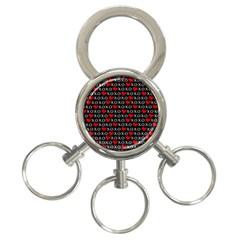 Xoxo Valentines Day Pattern 3 Ring Key Chains by Valentinaart