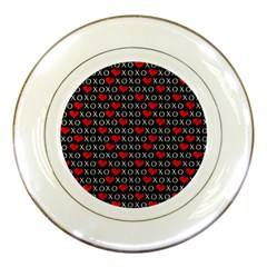 Xoxo Valentines Day Pattern Porcelain Plates by Valentinaart