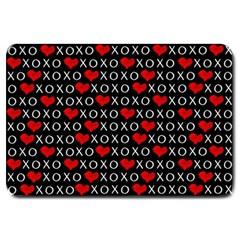 Xoxo Valentines Day Pattern Large Doormat  by Valentinaart