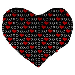 Xoxo Valentines Day Pattern Large 19  Premium Heart Shape Cushions by Valentinaart