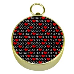Xoxo Valentines Day Pattern Gold Compasses by Valentinaart