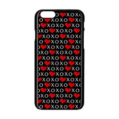 Xoxo Valentines Day Pattern Apple Iphone 6/6s Black Enamel Case by Valentinaart