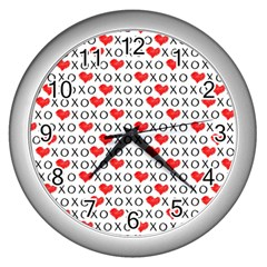 Xoxo Valentines Day Pattern Wall Clocks (silver)  by Valentinaart