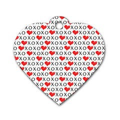 Xoxo Valentines Day Pattern Dog Tag Heart (one Side) by Valentinaart