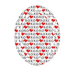 Xoxo Valentines Day Pattern Oval Filigree Ornament (two Sides) by Valentinaart