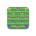 Rainbow Ponies Rubber Square Coaster (4 pack)