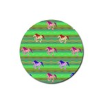 Rainbow Ponies Rubber Round Coaster (4 pack)