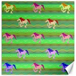 Rainbow Ponies Canvas 16  x 16