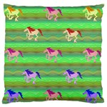 Rainbow Ponies Large Flano Cushion Case (One Side)