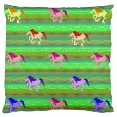 Rainbow Ponies Large Flano Cushion Case (two Sides) by CosmicEsoteric